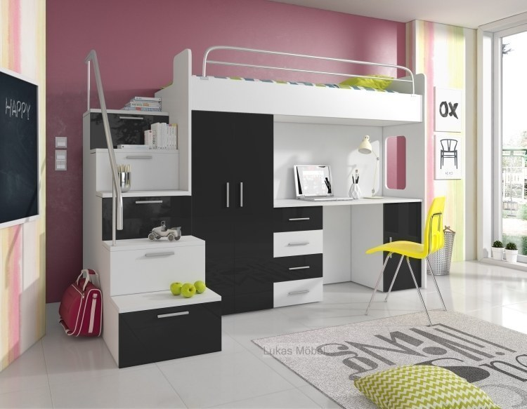 etagenbett hochbett alice hochglanz weiss schwarz bett. Black Bedroom Furniture Sets. Home Design Ideas