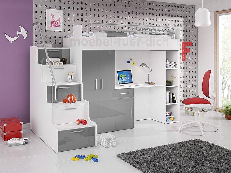 Hochbett ARI mit Schreibtisch und Kleiderschrank