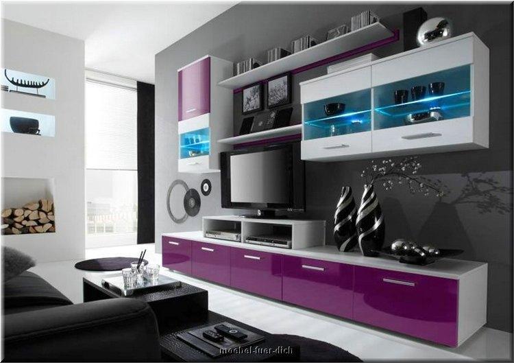 Moderne Hochglanz Wohnwand Beta - Violett