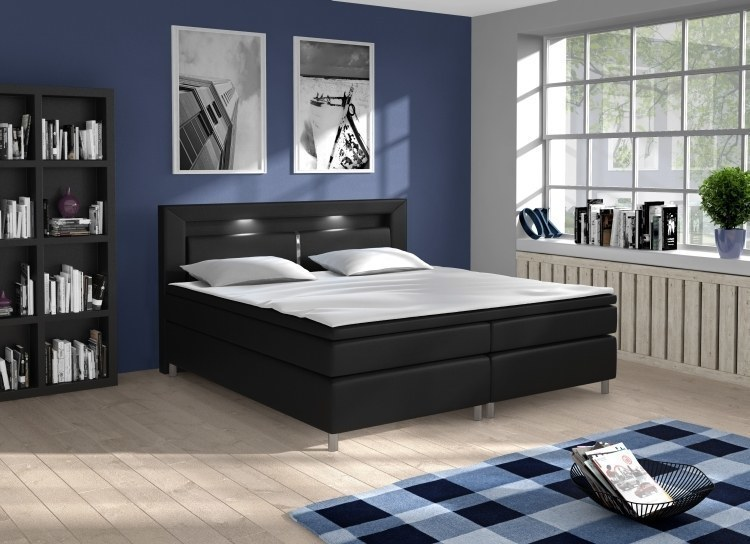 boxspringbett kunstleder bett phoenix 160 x 200 cm mit led und farbauswahl ebay. Black Bedroom Furniture Sets. Home Design Ideas
