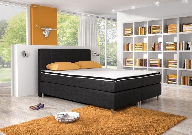 boxspringbett bett denver 180 x 200 cm stoff und farbe w hlbar in 3 varianten ebay. Black Bedroom Furniture Sets. Home Design Ideas