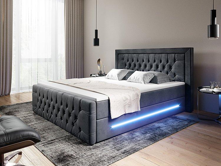 Boxspringbett Stoffbezug mit Bettkasten und LED