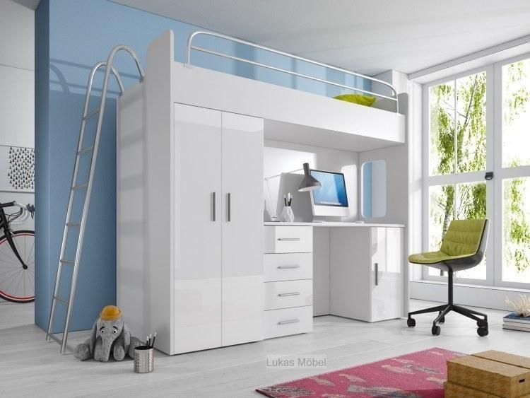 etagenbett hochbett hochglanz weiss kinderbett schrank schreibtisch ebay. Black Bedroom Furniture Sets. Home Design Ideas