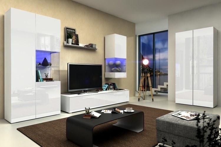 Designer wohnwand nicea iii hochglanz weiss mit led neu for Schrankmodule schlafzimmer