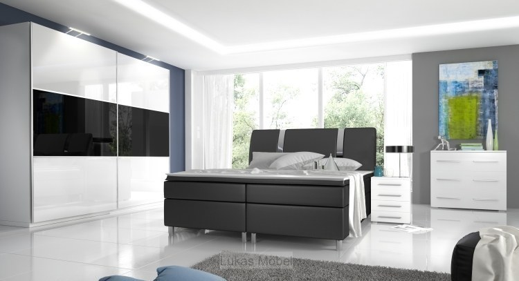 komplett schlafzimmer hochglanz rivabox kleiderschrank bett 2 nachttische ebay. Black Bedroom Furniture Sets. Home Design Ideas