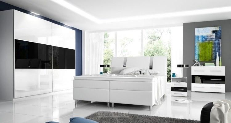 Details zu Hochglanz Schlafzimmer komplett RivaBox Boxspringbett, Schrank,  2 Nachttische
