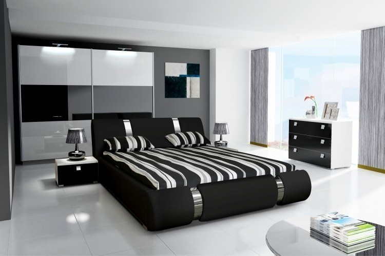komplett schlafzimmer hochglanz schwarz weiss. Black Bedroom Furniture Sets. Home Design Ideas