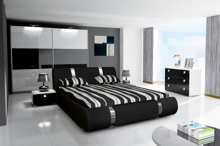 komplett schlafzimmer hochglanz schwarz weiss kleiderschrank bett 2 nako ebay. Black Bedroom Furniture Sets. Home Design Ideas