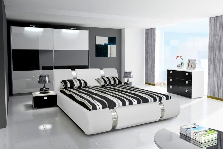 komplett schlafzimmer hochglanz weiss scharz kleiderschrank bett 2 nako ebay. Black Bedroom Furniture Sets. Home Design Ideas