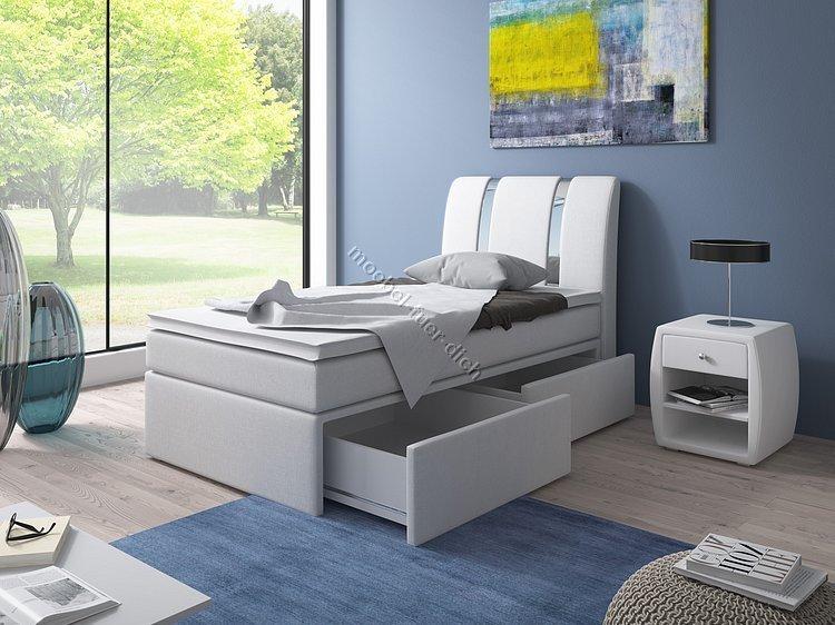 boxspringbett einzelbett 90x200 mit bettkasten m bel f r. Black Bedroom Furniture Sets. Home Design Ideas