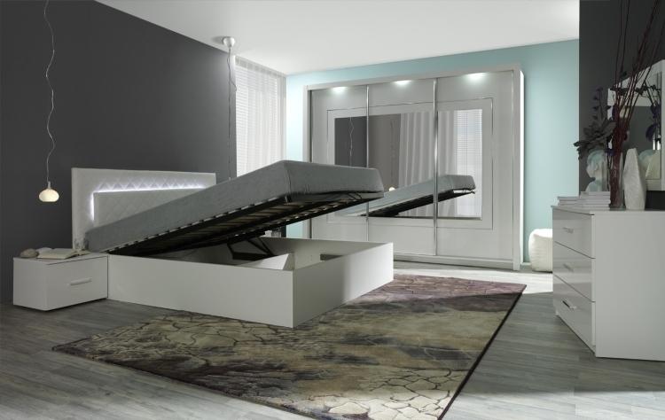 Außergewöhnliche betten mit licht  Komplett Schlafzimmer Panarea in Hochglanz Weiß mit Spiegel und ...