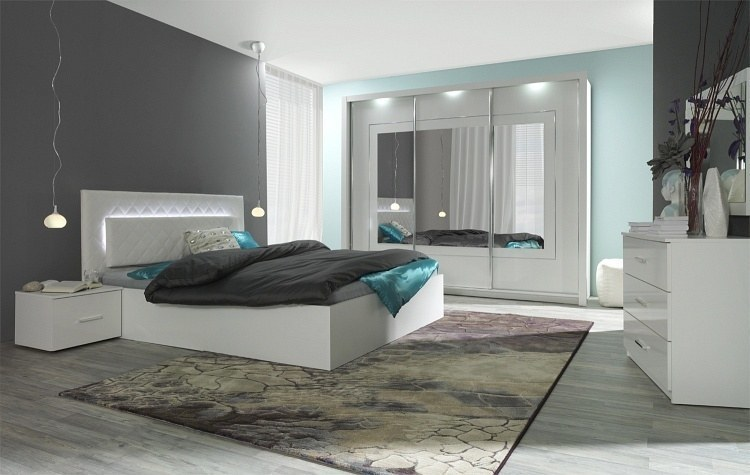 details zu hochglanz weiß schlafzimmer panarea bett mit lattenrost matratze  und bettkasten