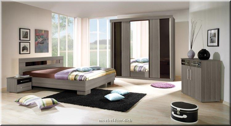 Schlafzimmer DUBLIN Cherry Grau/Schwarz Hochglanz