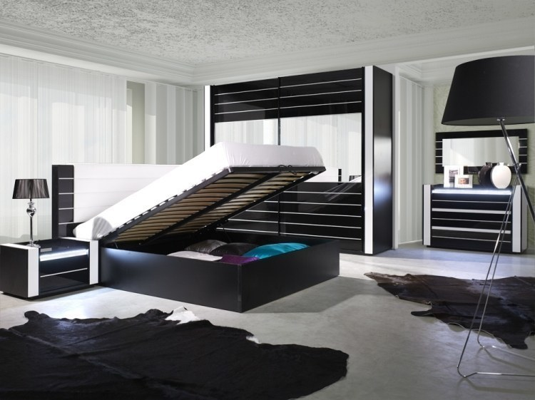 modernes designer schlafzimmer komplett linn hochglanz schwarz mit led ebay. Black Bedroom Furniture Sets. Home Design Ideas