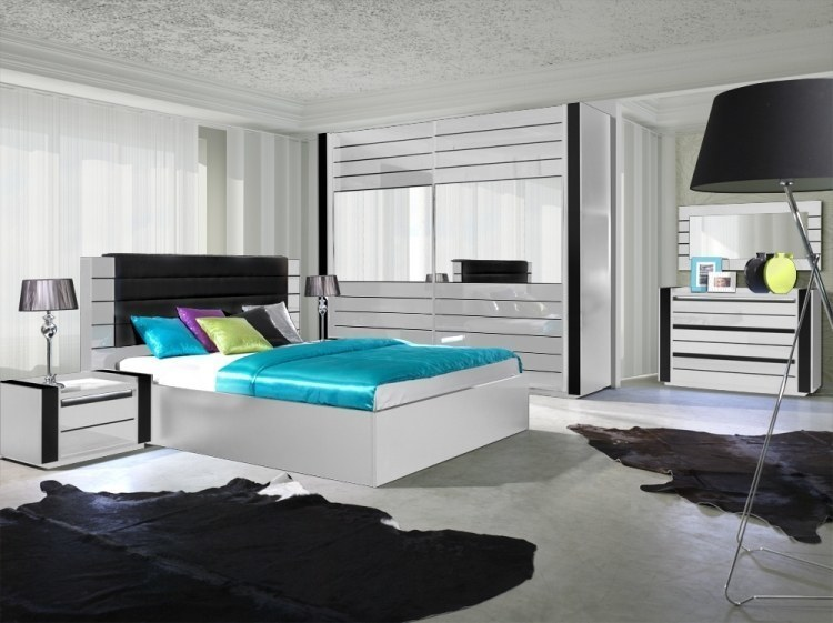 Hochglanz Schlafzimmer komplett LINN Weiß