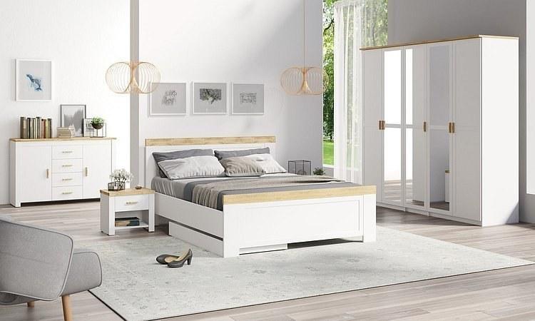 Komplettschlafzimmer Set NICEA – Bett, fünftüriger Kleiderschrank ...