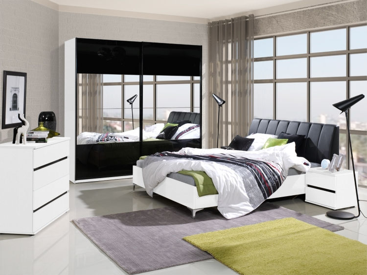 schlafzimmer komplett saragossa hochglanz schwarz weiss m bel f r dich online shop. Black Bedroom Furniture Sets. Home Design Ideas