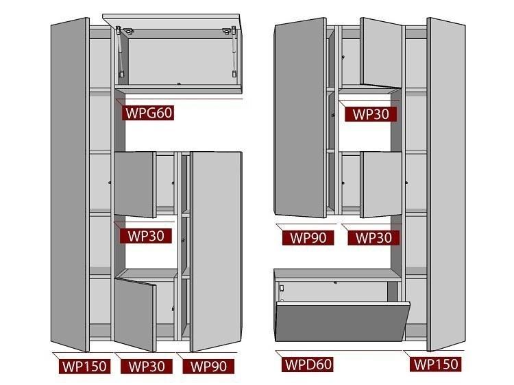 Wohnwand  BOX-Plan 69 Abmessungen