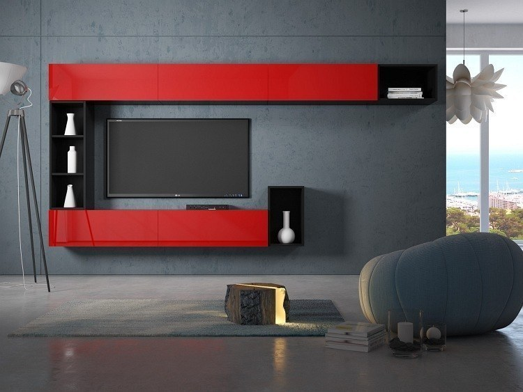 hochglanz wohnwand wohnzimmerwand medienwand boxplan 4 in wei schwarz oder rot ebay. Black Bedroom Furniture Sets. Home Design Ideas
