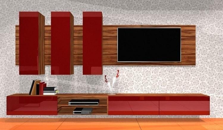 Hochglanz wohnwand rot BOX-Plan 1