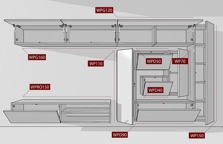 Wohnwand BOX-Plan2 Abmessungen